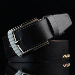 Pin Buckle Retro Sewing Thread Wide Belt - BLACK