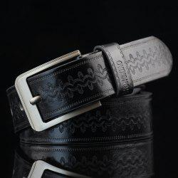 Pin Buckle Wavy Embossed Wide Belt - BLACK