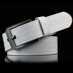 Pin Buckle Wavy Embossed Wide Belt - WHITE