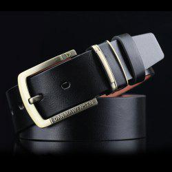 Letters Cameo Pin Buckle PU Wide Belt - BLACK