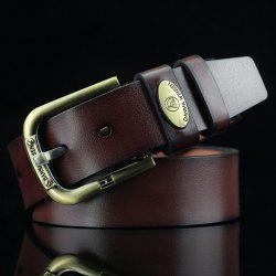 Oval Alloy Label Pin Buckle PU Wide Belt -