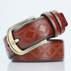 Rhombus Plaid Embossed Pin Buckle PU Wide Belt - BROWN
