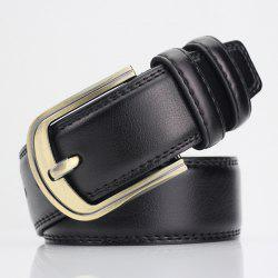 Brief Pin Buckle PU Wide Belt - BLACK