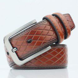 Rhombus Mesh Plaid Pin Buckle PU Ceinture large - Brun