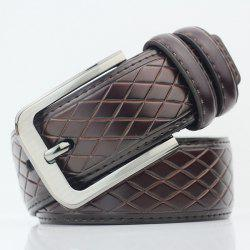 Rhombus Mesh Plaid Pin Buckle PU Wide Belt -