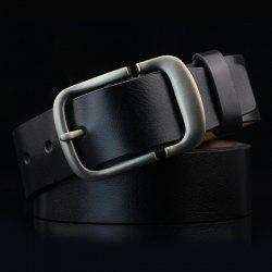 Cut Off Pin Buckle PU Wide Belt - BLACK