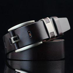 Brief Hollow Out Roller Buckle PU Wide Belt -