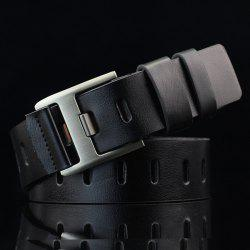 Brief Hollow Out Wide Hole PU Belt - BLACK