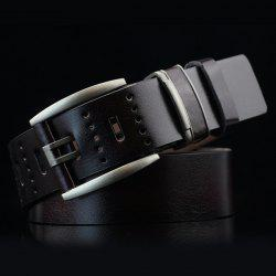 Brief Hollow Out Small Hole Roller Buckle PU Belt - BLACK
