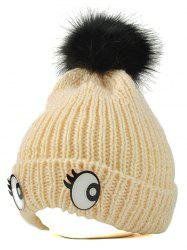 Winter Knitting Patterns Eyes Pom Hat - PEARL BEIGE