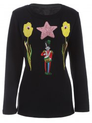 Plus Size Flower and Sodier Sequins Embroidery Thicken Knitwear