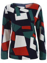 Color Block Geometry Patchwork Plus Size Tricots - Multicolore 5XL