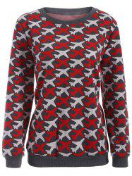 Casual Airplane Pattern Plus Size Knit Sweatshirt - RED 5XL