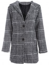 Pom Ball Houndstooth Pattern Plus Size Hooded Coat -