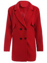 Casual Coat Double Breasted Woolen - Rouge