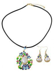 Enamel Ombre Faux Pearl Jewelry Set - COLORFUL