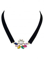 Faux Crystal Velvet Choker Necklace