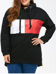 Color Block Rectangle Pattern Plus Size Drawstring Hoodie - BLACK