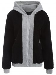 Faux Shearling Panel Plus Size Thicken Hoodie -