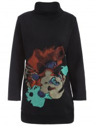 Abstract Print Plus Size Mock Neck Sweatshirt