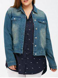 Bleach Wash Flap Pockets Short Denim Jacket - DENIM BLUE