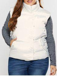 Button Up Stand Collar Padded Vest -