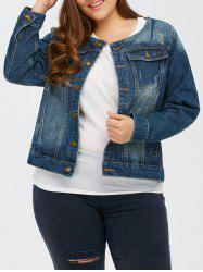 Dark Wash Button Up Short Denim Jacket