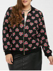 Zipped Heart Print Bomber Jacket - BLACK
