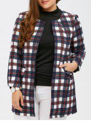 Open Front Flap Pockets Plaid Coat
