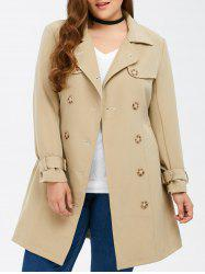 Plus Size Belted Double Breasted Long Trench Coat - LIGHT KHAKI