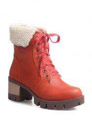 Round Toe Lace Up Platform Ankle Boots