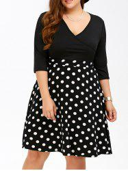 Plus Size Polka Dot Surplice Dress