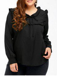 Plus Size Bow Tie Ruffed Blouse