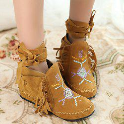 Embroidery Fringe Lace Up Boots