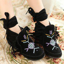 Embroidery Fringe Lace Up Boots - BLACK