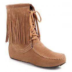 Stitching Fringe Tie Up Short Boots - LIGHT BROWN 39