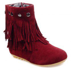 Metal Layer Fringe Zipper Ankle Boots