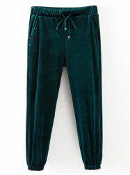 Drawstring Velvet Casual Pants -