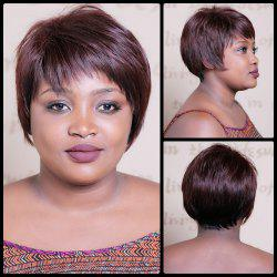 Spiffy Short Double Color Neat Bang Straight Synthetic Wig