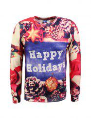 Crew Neck 3D Print Christmas Graphic Sweatshirt