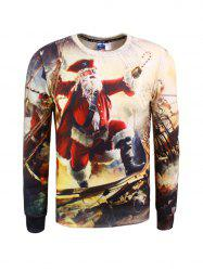 3D Pirate Print Crew Neck Christmas Sweatshirt -