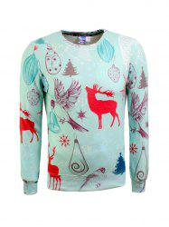 Snowflake Crew Neck Christmas Sweatshirt - TIFFANY BLUE