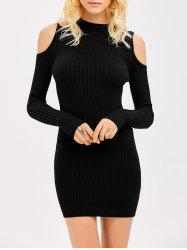 Ribbed Cold Shoulder Long Sleeve Bodycon Dress - BLACK M