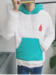Kangaroo Pocket Color Block Quilted Pullover Hoodie -