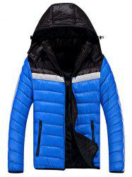 Zip Up Color Block Striped Hooded Quilted Jacket -