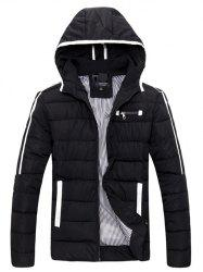 Striped Hooded Quilted Zip Jacket -