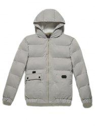 Zip Up Pocket Design Hooded Puffer Jacket -