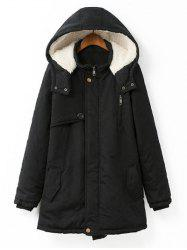 Plus Size Hooded Flocking Coat - BLACK