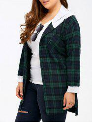 Plus Size Hooded Plaid Long Flannel Shirt
