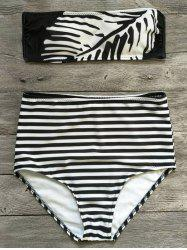 Strapless Striped Feather Print Bikini Set